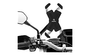 Grefay Motorrad Handyhalterung Edelstahl Automatisches Schrumpfen Smartphone Halterung Für Motorrad Rückspiegel Mit 360° Drehbare Für 4,5-7,0 Zoll Smartphone