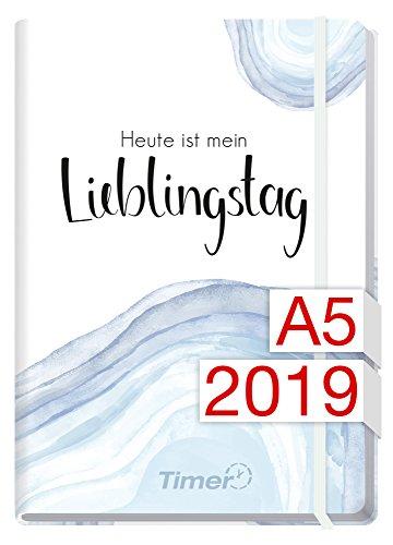 Chäff-Timer Premium A5 Kalender 2019 [Lieblingstag] 12 Monate Jan-Dez 2019 - Gummiband, Einstecktasche - Terminkalender mit Wochenplaner - Organizer - Wochenkalender