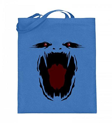 (Hochwertiger Jutebeutel (mit langen Henkeln) - Monster Gesicht Gruselig Halloween - Schlichtes Und Witziges Design)