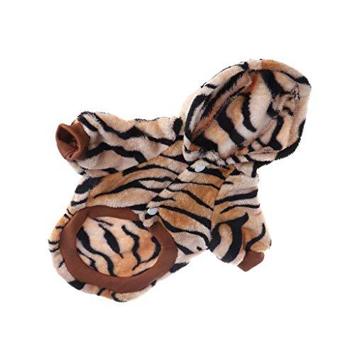 Vektenxi Haustier-Kostüm für kleine Hunde, Tiger, mit Kapuze, warm, Fleece, Jacke, langlebig und - Tiger Kostüm Für Den Hunde