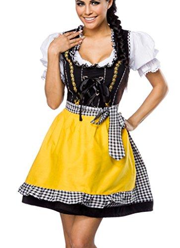 Dirndl Kleid Kostüm mit Schürze Minidirndl mit Karomuster und ausgestelltem Rockteil Oktoberfest Dirndl schwarz/weiß/gelb M