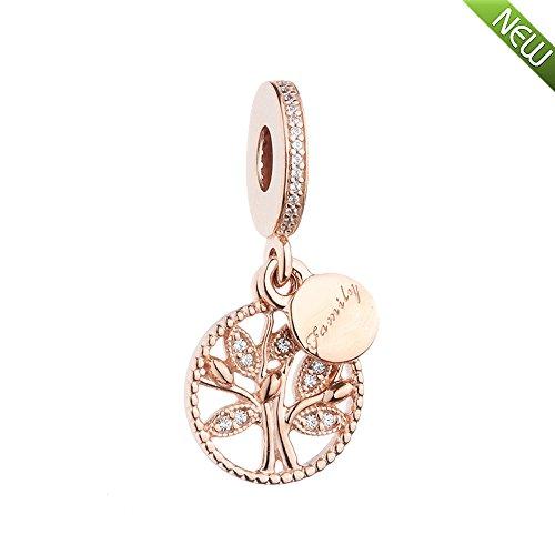 PANDOCCI 2017 herbst rose gold familie baum erbe baumeln klar cz perlen authentische 925 sterling silber diy passt für original pandora armbänder charme schmuck