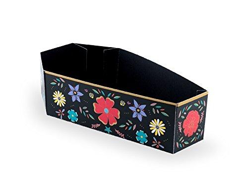Unbekannt Süßigkeitenbox Sarg Dia de Los Muertos 6 Stück Schwarz mit Bunten Blumen FNS6 (Disfraces De Halloween Dia De)