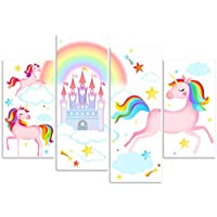 Rubybloom Designs Fantasy Unicorn Fairy Tale Castle Rainbow Star 4 Panel Canvas Art Print Picture