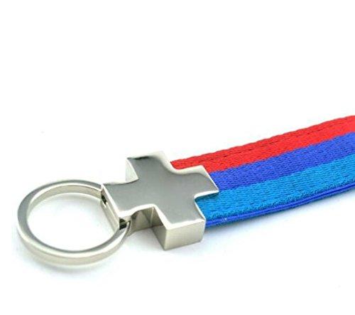 M-Colored Stripe Sports Power Performance Nylon Band Key Chain Key Ring For BMW