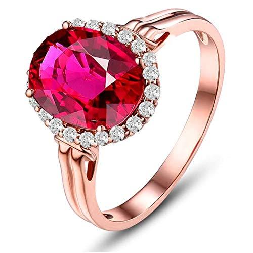 AnazoZ Echtschmuck 18 Karat 750 Gold Damen Ringe 2CT Rubellit Ovale Form Verlobungsringe Rose Gold Schmuck 65 (20.7) (2 1 Ct Diamant-anhänger)