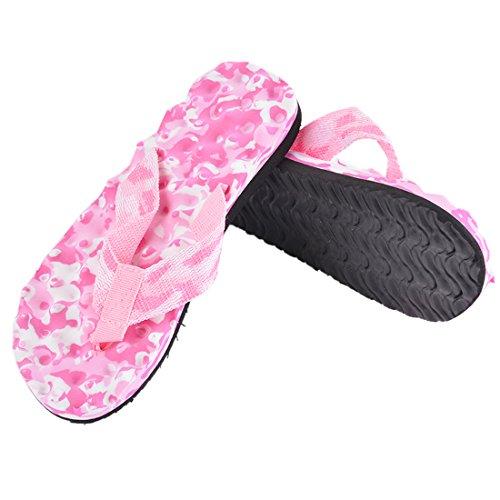 Vertvie Unisex Erwachsene Sommer Camouflage Flip Flops Schuhe Sandalen Slipper Indoor Outdoor Zehentrenner Rosa