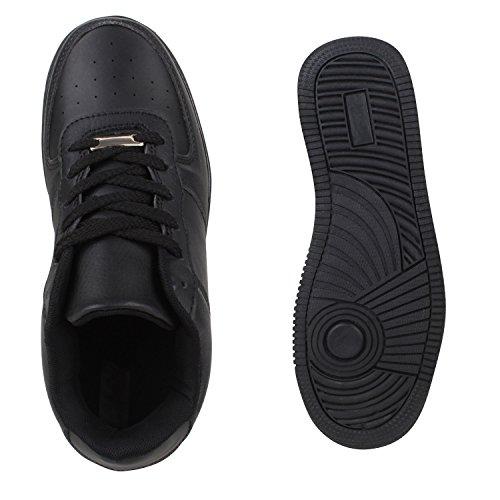 Damen Herren Basketballschuhe Sneakers Bequeme Sportschuhe Freizeit Schwarz Total