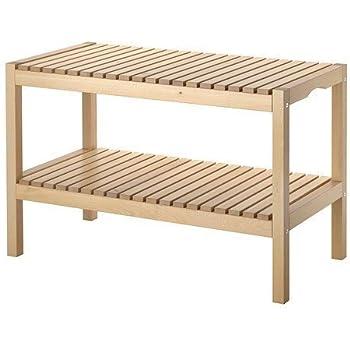Amazon.de: IKEA Holzbank \'Molger\' Bank mit Ablageboden - massive ...
