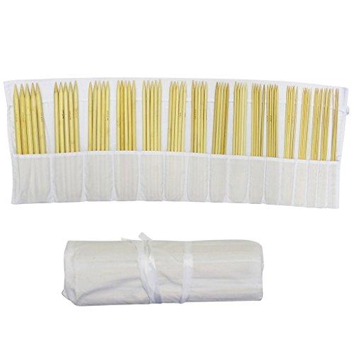 Curtzy 80 tlg. Stricknadelset - Spielstricknadeln aus Bambus – in kostenloser Baumwoll-Aufbewahrungstasche - das beste Set für Anfänger und (Plus Muster Größe Nähen)