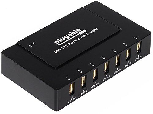 Plugable USB 3.0 7 Port SuperSpeed Hub mit 60W Netzteil (BC 1.2 Schnelllade-Unterstützung für Android, Apple iOS und Windows Geräte)