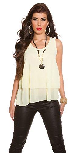Koucla Damen Krepp Top Shirt Bluse im Layer Look mit Statement Kette Gelb  ...
