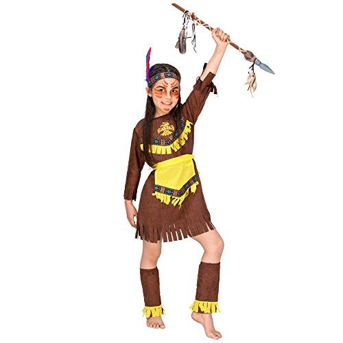 Mädchenkostüm Indianerin | Bezauberndes Kleid mit Franzen | inkl. Bindegürtel + Haarband mit Federn + Beinstulpen (8-10 Jahre | Nr. 300576)