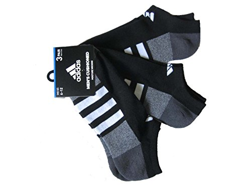 adidas Herren Socken 3-Streifen No Show 3er-Pack, Herren, Black/White/Charcoal, Large: fits Shoe Size 6-12 -