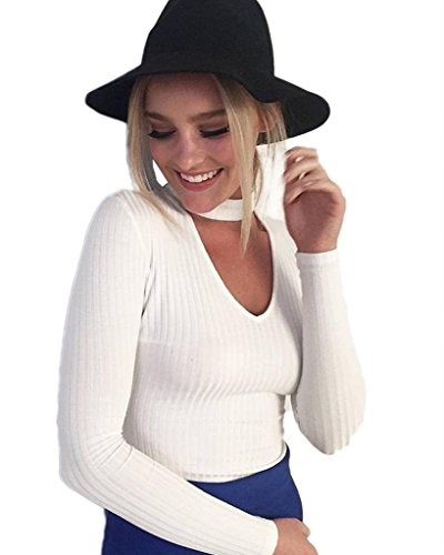 Minetom Donna Autunno V Collo Pullover Camicetta Camicia Top Felpe Maglioni Outwear Sweatshirt Bianco IT 48