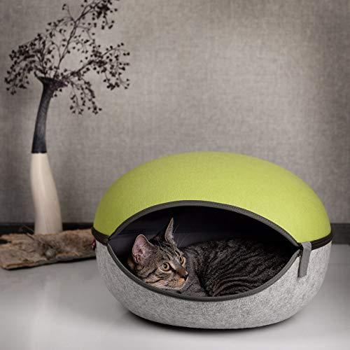 CanadianCat Company ® | Katzenhöhle in apfelgrün-hellgrau- das Katzenbett in Katzennest Form auch für XL Katzen Filzhöhle Kuschelhöhle