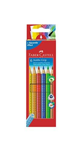 Faber-Castell 110906 Buntstifte Jumbo Grip (Inhalt: gelb, orange, rot, blau, grün und braun) 6er...