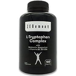L-Triptófano Complex con Melatonina, Magnesio + Vitaminas B3, B5 y B6, 180 Cápsulas | Regula el estado de ánimo y combate los efectos del estrés, ayudando en la producción de Serotonina | Vegano, No-GMO, GMP, libre de aditivos, sin Gluten | de Zenement