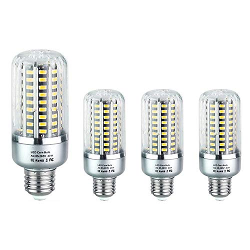 SUNICOL LED Corn Bulb, 4 Packs of 99 LEDs 5736 SMD 20W Light Bulb with E27 Socket, 1900 Lumens Equivalent 120W Incandescent Bulb, Cool White, for Pendant Light Wall Light