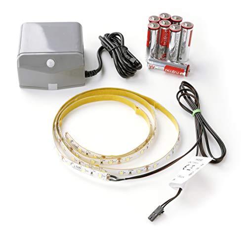 FACKELMANN LED ConturaLight Waschtisch Beleuchtung/Maße: ca. 110 cm breit/batteriebetriebene LED-Beleuchtung unter Waschtisch/austauschbares LED-Band/inklusive Bewegungsmelder mit Batterien