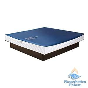 Wasserbetten-Palast - Base letto/materasso ad acqua, motivo: Solo, struttura a cuneo, altezza centrale: 20-23 cm, varie dimensioni e livelli di adeguamento, ammortizzato al 50% (tempo di ritorno: 2-3 secondi), 200 x 220 cm