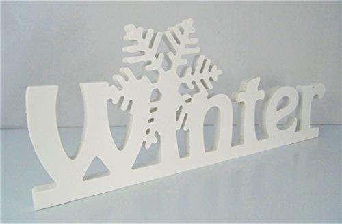 Schriftzug Winter mit Eiskristall in weiß - frei stellbar