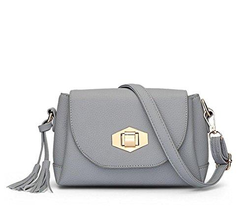 LDMB Damen-handtaschen Frauen PU-lederne einfache wilde Schulter-Kurier-Handtaschen-feste Farben-leichte Crossbody Beutel-Verschluss-Wölbungs-Quasten-Taschen-Beutel a (large)