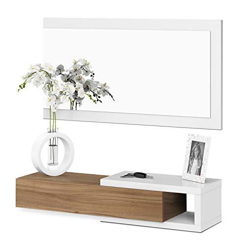 13casa - toledo b4 - mobile ingresso + specchio. dim: 95x26x19 h cm. col: bianco. mat: melamina, specchio.