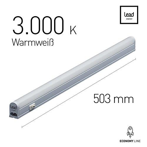 LED Unterbauleuchte |50.6cm | warmweiß | LED Lichtleiste 7W | extrem hell -523 Lumen | bis 12 Meter nahtlos erweiterbar | geeignete Lampe für die Küche, hinter Möbel, im Werkraum (Lichter Küche)