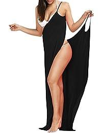 Minetom Femmes Été Sexy Robe Longue Amincissant Bustier Strap V Neck Épaules Nue Sans Manche Hem Split Maxi Dress de Plage