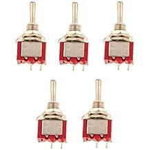 5 X Mini Interruptor de Palanca SPST Modelo Ferroviario / Apagado en Miniatura