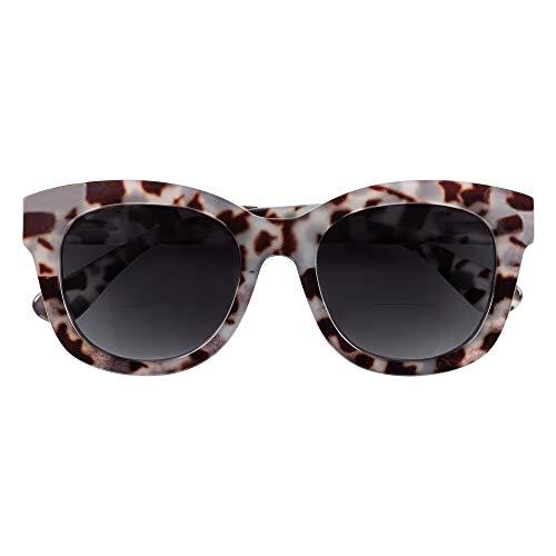 Babsee Nina Grey Tortoise + 2.0 Nina Sonnenbrille mit Leseteil für Frauen - Wunderschöne Damen Sonnenbrille mit glänzendem Rahmen & 100% UVA/UVB Schutz | Flexible Scharnierlinsenbreite