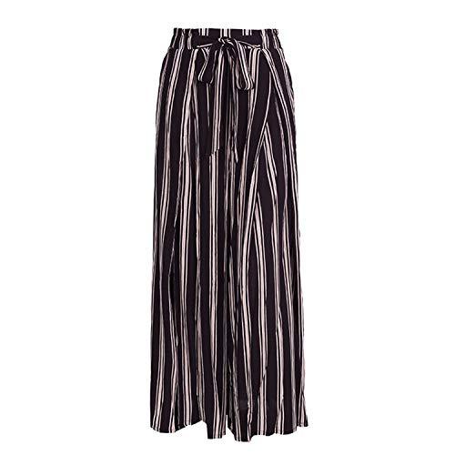 Split Striped Lady Wide Leg Pants Women Summer Beach High Waist Trousers Chic Streetwear Sash Casual Pants Capris Female Stripe1 M -