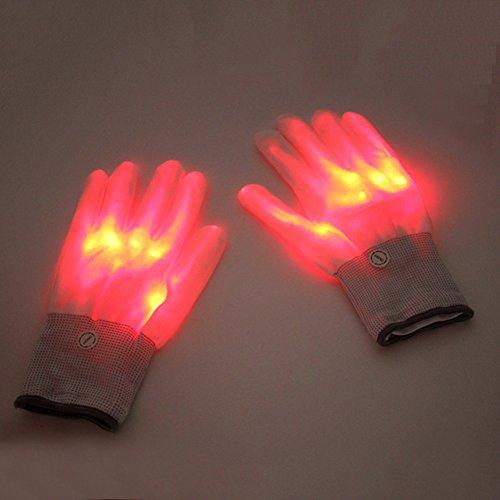 (Gaeruite 1 Paar LED Handschuhe, Finger Lichter LED Luminous Handschuhe, Licht Handschuhe Leuchtende Handschuhe Party Licht Show Handschuhe, Lightshow Tanzen Beleuchtung Handschuhe für Clubbing, Rave, Geburtstag (red))