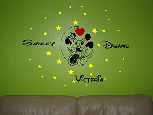Minnie Maus und Mickey Mouse auf dem Mond Personalisiertes Wandtattoo, Wand Aufkleber Wand Kunst. schwarz Schwarz Mickey-mouse-vinyl-aufkleber
