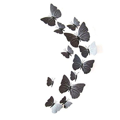 joyliveCY 3D Schmetterlinge im 3D-Style 12-Stück Wanddekoration mit Klebepunkten zur Fixierung Schwarz