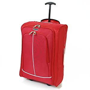 Karabar Super Lightweight Cabin Approved Luggage Bag 55 x 35 x 20 cm, 40 Litres, 1.5 kg, 3 Years Warranty! (Red/Silver)