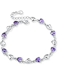 Forfamily pulsera con corazón-eslabones en plata y circonios regulable Gran regalo disponible en púrpura, azul y blanco