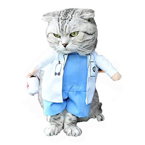 Doktor Kostüm Hunde Kleine - Caige Lustige Haustier-Kleidung, Doktor-Krankenschwester-Art-Hundekatzen-Kostüm-Katzen-Halloween, Blau,XL