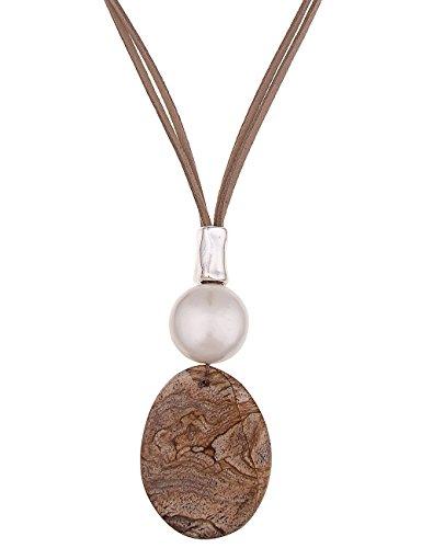 Leslii Halskette Naturstein Braun Weiß | lange Damen-Kette Mode-Schmuck | 85cm + Verlängerung