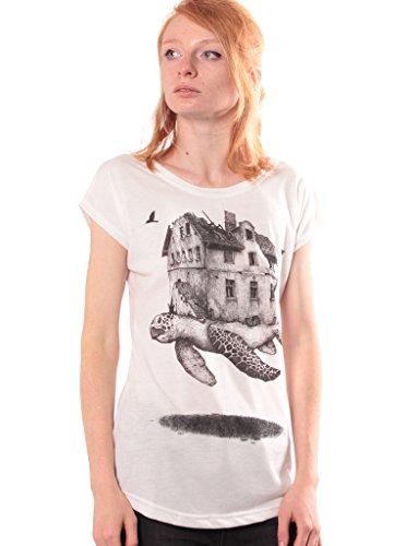 Damen T-Shirt mit Home and Away Schildkröten Design Aufdruck - handgefertigt durch Siebdruck Street Style Tee - Street Habit Weiß