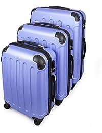 Todeco - Juego de Maletas, Equipajes de Viaje - Material: Plástico ABS - Tipo de ruedas: 4 ruedas de rotación de 360 ° - Esquinas protegidas, 51 61 71 cm, Azul cielo, ABS