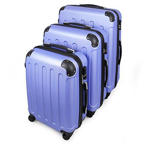 Todeco - Set de Valises, Bagages pour Voyage - Matériau: Plastique ABS - Roues: 4 roues à rotation 360° - 51 61 71 cm, Bleu ciel, ABS, Coins protégés