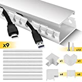 Cable Trunking, Stageek Cable Management System, Open Slot Cable Tidy Wire Cover Concealer, Tidy Cables Cords for Home and Office Use, Decorative Cable Hide Cover - 9x39cm, 3.5m Total Length, White