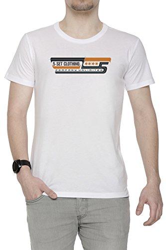 5-Set Clothing Uomo T-shirt Bianco Cotone Girocollo Maniche Corte White Men's T-shirt