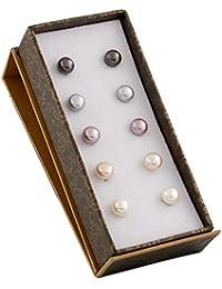 Bella Pearls Women's 925 Sterling Silver 7 mm Multi-Coloured Freshwater Pearl Stud Earrings