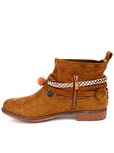 Cendriyon, Bottine peau camel ETHKAO Chaussures Femme Caramel