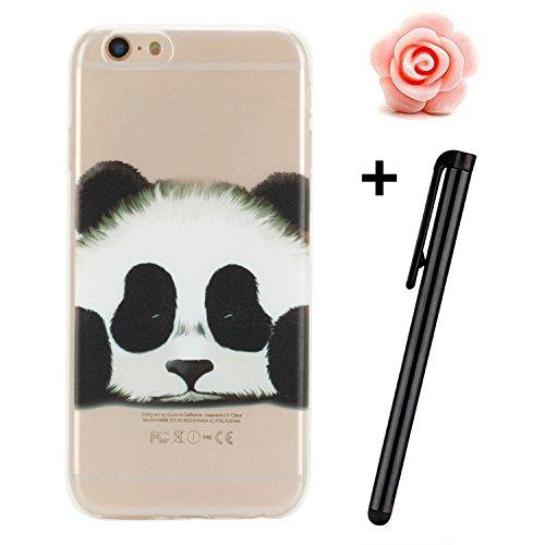 Custodia per iPhone 6s, toyym iPhone 66S Custodia Bumper trasparente, flessibile, in silicone [trasparente] morbido TPU ultra sottile resistente agli urti + Drop assorbimento + antigraffio] Cover Ski Panda