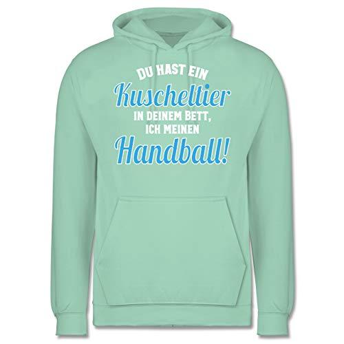 Handball WM 2019 - Du hast Dein Kuscheltier im Bett, ich Meinen Handball! - XXL - Mint - JH001 - Herren Hoodie und Kapuzenpullover für Männer