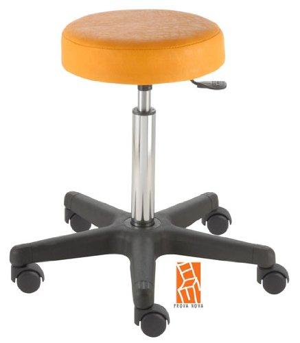 Arbeitshocker, Arzthocker, Drehhocker, Rollhocker Modell comfort, Hubbereich ca. 54 -73 cm, Rollen mit harter Radbandage. Ideal geeignet für weiche Böden wie z.B. Teppich. Sitzfarbe mais